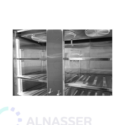 ثلاجة-تخزين-عامودية-بابين-أمام-5أرفف-upright-stainless-steel-fridge-refrigerator-close-alnasser-factories