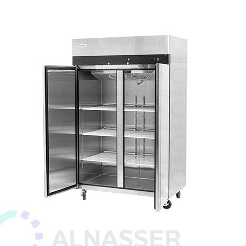 ثلاجة-تخزين-عامودية-ماكينة-4أرفف-خلف-ثلاجة-تخزين-عامودية-بابين-أمام-upright-stainless-steel-fridge-freezer-refrigerator-close-alnasser-factories-refrigerator-alnasser-factories
