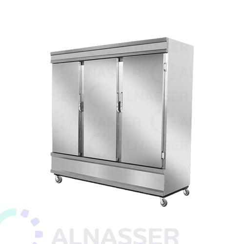 ثلاجة-تخزين-عامودية-3أبواب-أمام-5أرفف-upright-stainless-steel-fridge-refrigerator-close-alnasser-factories