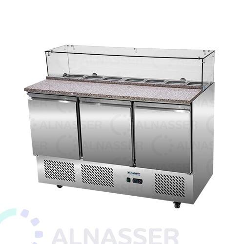 ثلاجة-تحضير-بيتزا-رخام-خلف-صيني-pizza-display-3dors-refrigerator-alnasser-factories