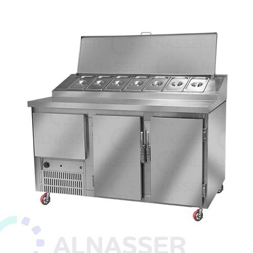 ثلاجة-تحضير-بيتزا-3أبواب-وطني مصانع-الناصر-pizza-display-refrigerator-2shelves-alnasser-factories