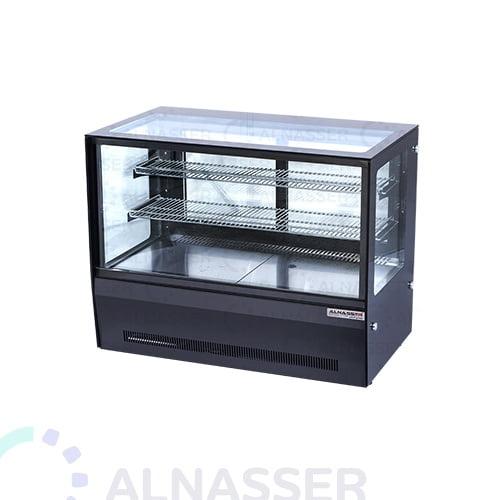 ثلاجة-عرض-حلويات-تيتانيوم-أسود-خلف-صيني-على-الطاولة-display-refrigerator-black-titanium-close-alnasser-factories