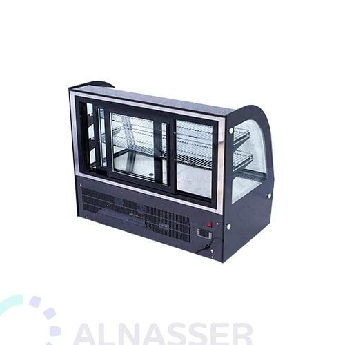 ثلاجة-عرض-حلويات-تيتانيوم-أسود-أمام-خلف-زجاج-ملفوف-على-الطاولة-display-refrigerator-black-titanium-alnasser-factories