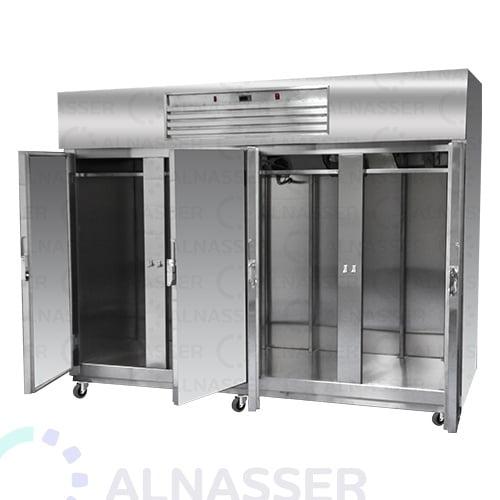 ثلاجة-تخزين-عامودية-4أبواب-أمام-5أرفف-upright-stainless-steel-fridge-refrigerator-opened-alnasser-factories