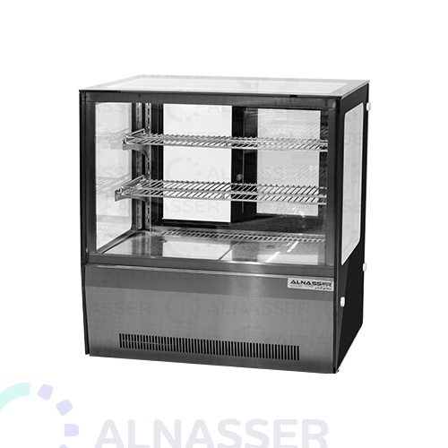 ثلاجة-عرض-حلويات-مربع-أسود-أمام-صيني-على-الطاولة-66سم-display-refrigerator-black-titanium-alnasser-factories